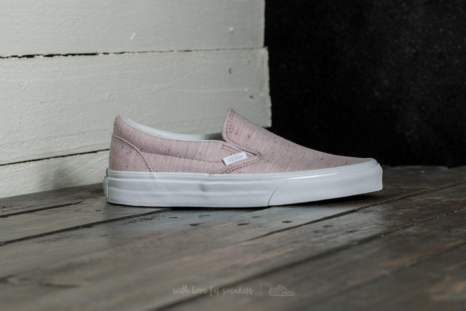 92b584765f1f Lyst - Vans Classic Slip-on (speckle Jersey) Pink  True White