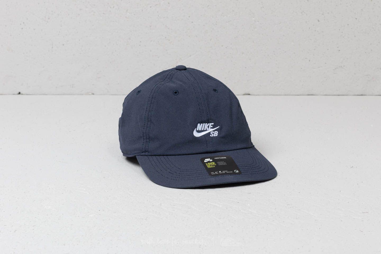32700760 Nike Sb Heritage86 Flat Cap Obsidian/ White in Blue for Men - Lyst
