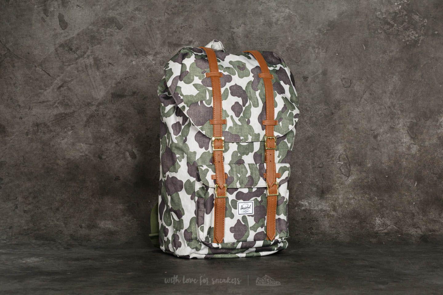 54fdfc873592 Lyst - Herschel Supply Co. Little America Backpack Frog Camo  Tan