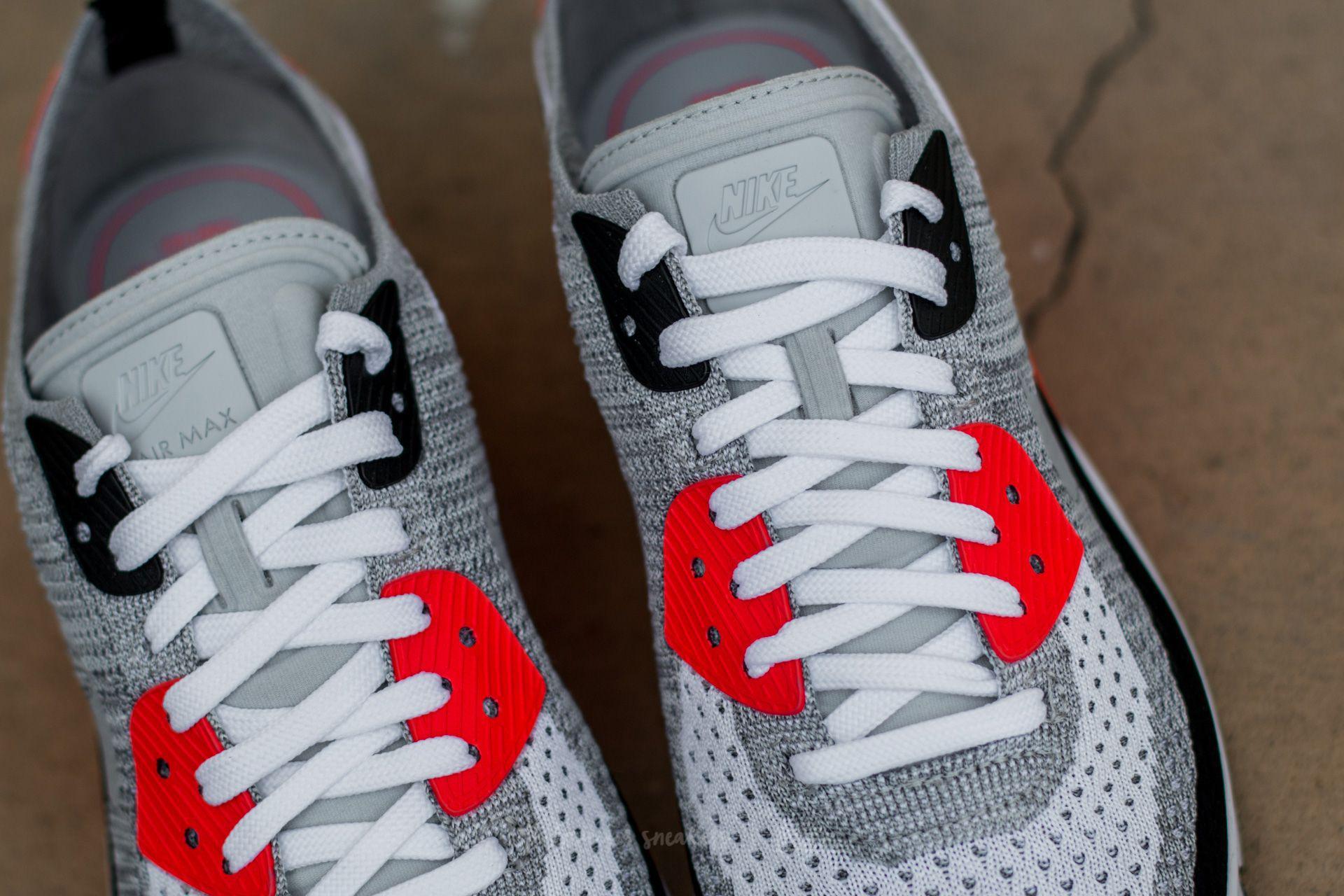 Nike - Gray Air Max 90 Ultra 2.0 Flyknit White/ Wolf Grey-bright Crimson.  View Fullscreen