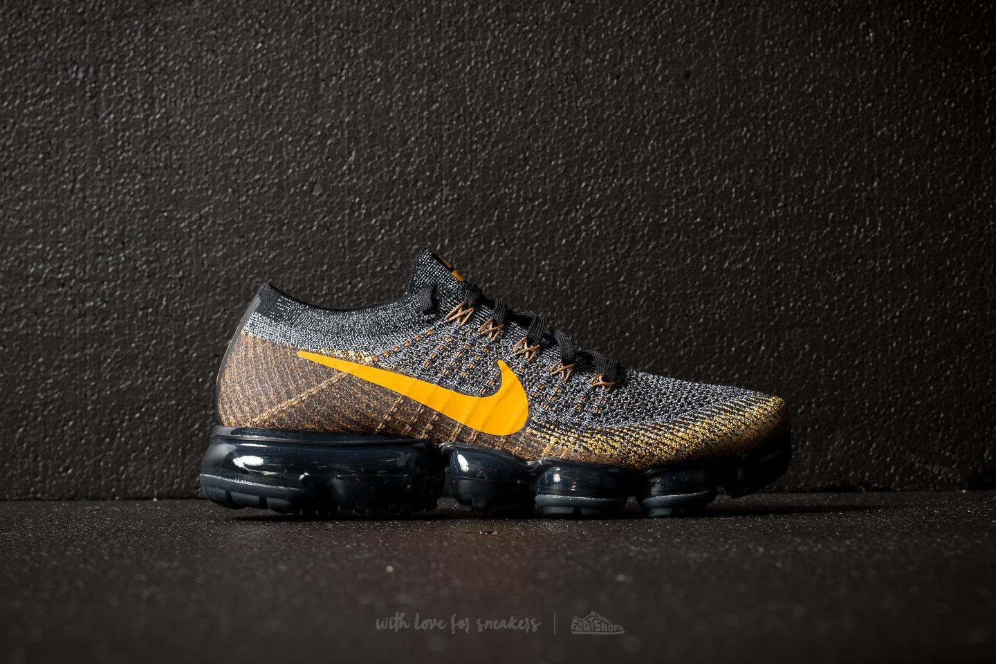 c06a47c173586 Lyst - Nike Air Vapormax Flyknit Black  Mineral Gold-dark Grey in ...