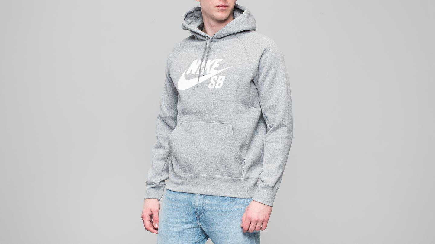 2713992ee Lyst - Nike Sb Icon Hoodie Dark Grey Heather/ White in Gray for Men