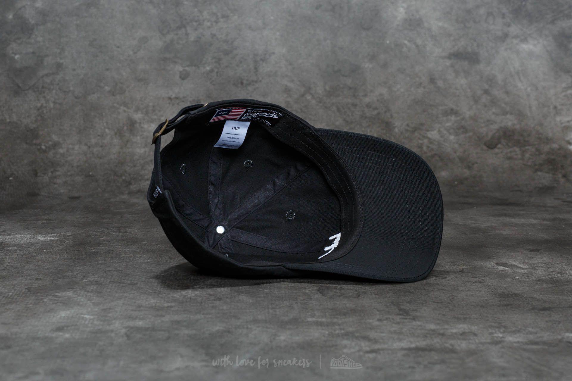 95726a28 Lyst - Huf Script Logo Curve Brim Cap Black/ White in Black for Men