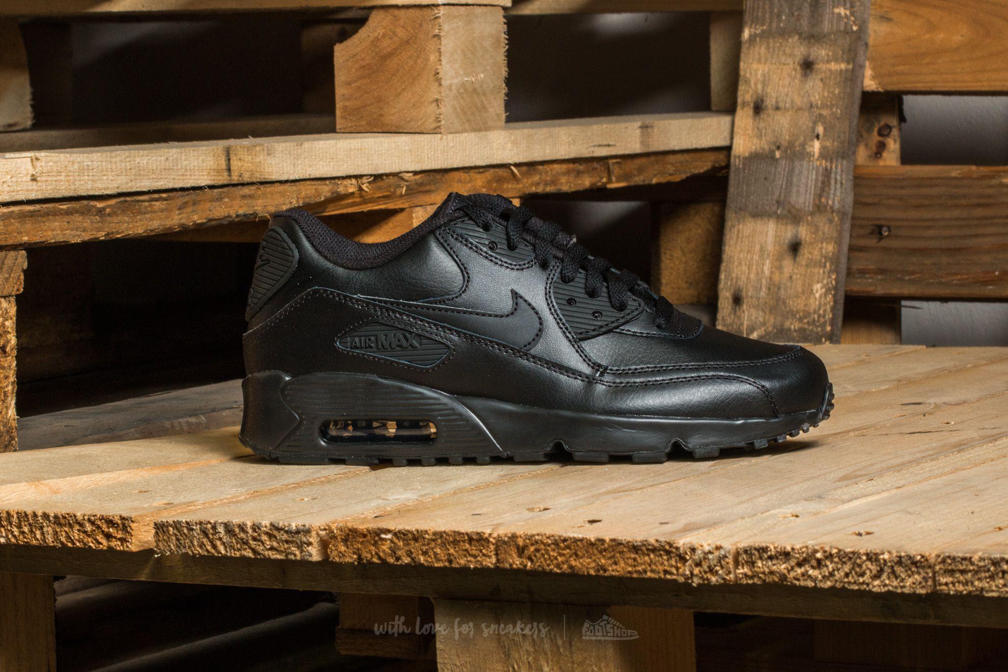 Lyst - Nike Air Max 90 Leather (gs) Black-black in Black 018e6ca29e