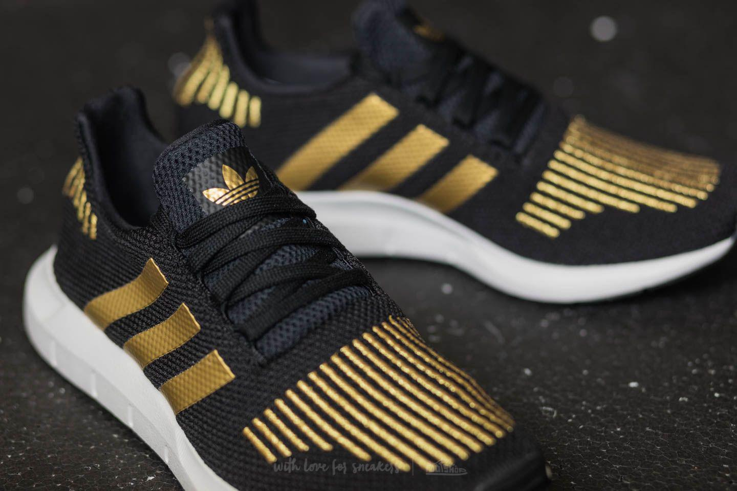 Lyst - adidas Originals Adidas Swift Run W Core Black  Gold Metalic ... 7e7b9fac37