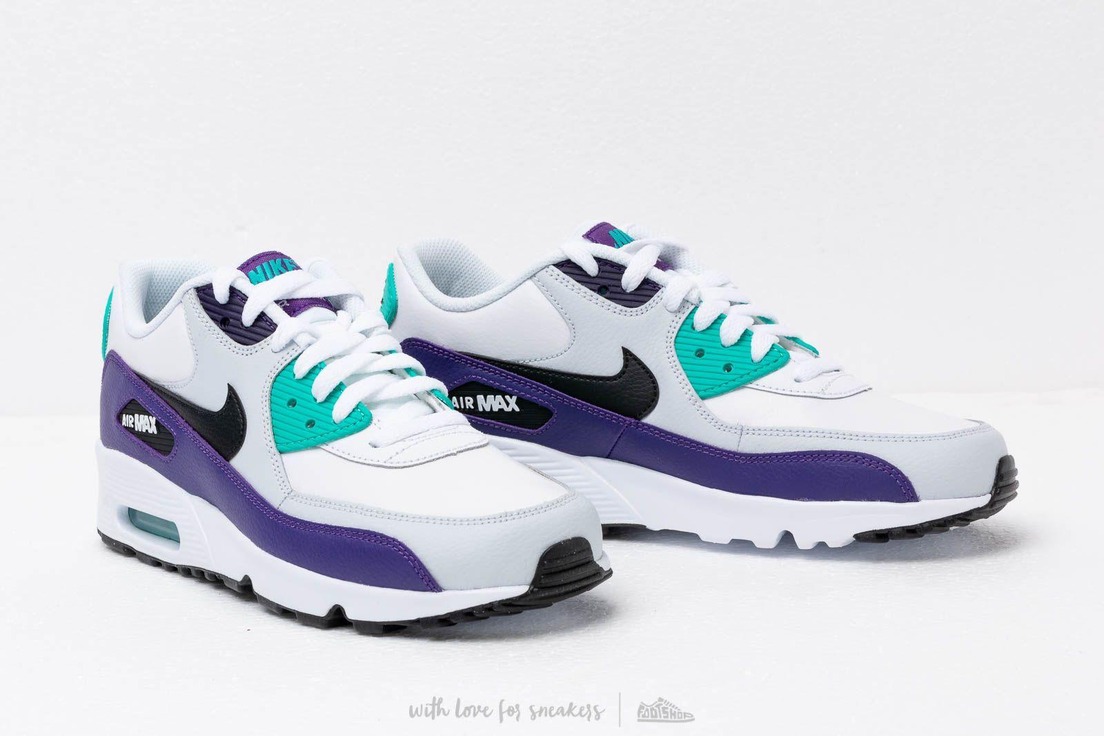 huge discount dea8e 57044 Nike Air Max 90 Ltr (gs) White  Black-hyper Jade-court Purple in ...