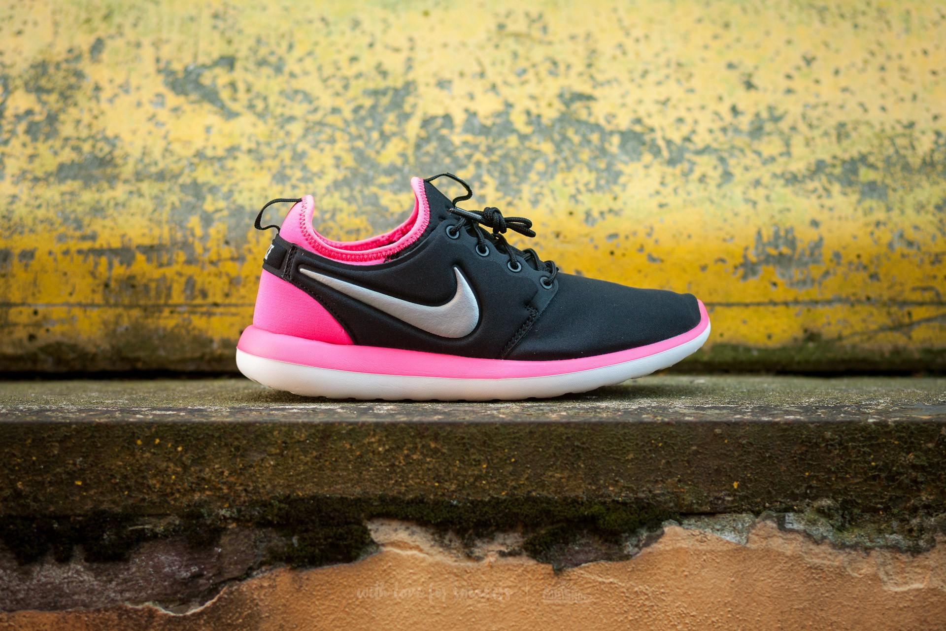 0e161a0bfbf7 Lyst - Nike Roshe Two (gs) Black  Metallic Platinum-hyper Pink in Pink