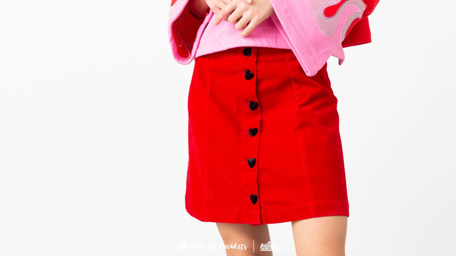 deea863bf9 Lazy Oaf - Heart Button Velvet Skirt Red - Lyst. View fullscreen