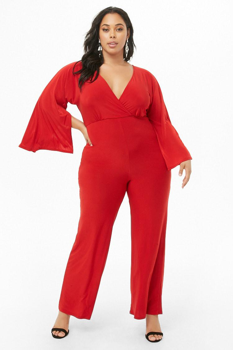 f2caf1e4427 Forever 21 Women s Plus Size Surplice Jumpsuit in Red - Lyst