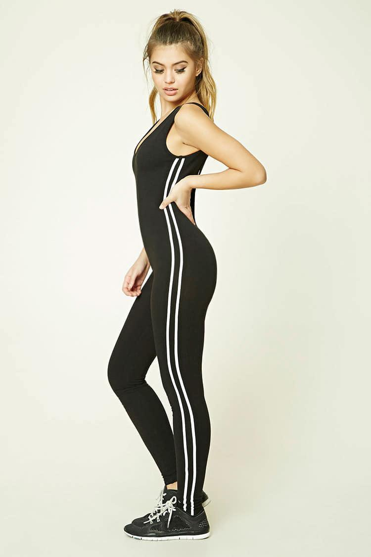 f69cd459069 Lyst - Forever 21 Active Striped Jumpsuit in Black