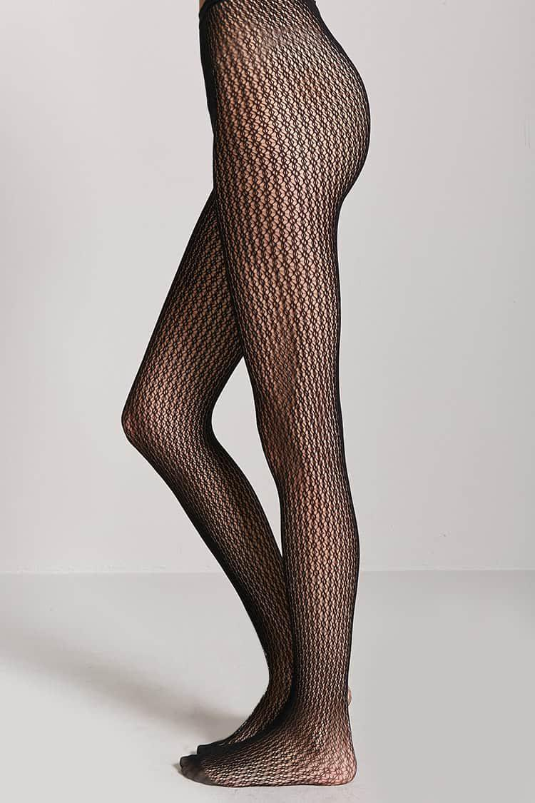 253b3d78ae63d Forever 21 French Lace Fishnet Tights in Black - Lyst