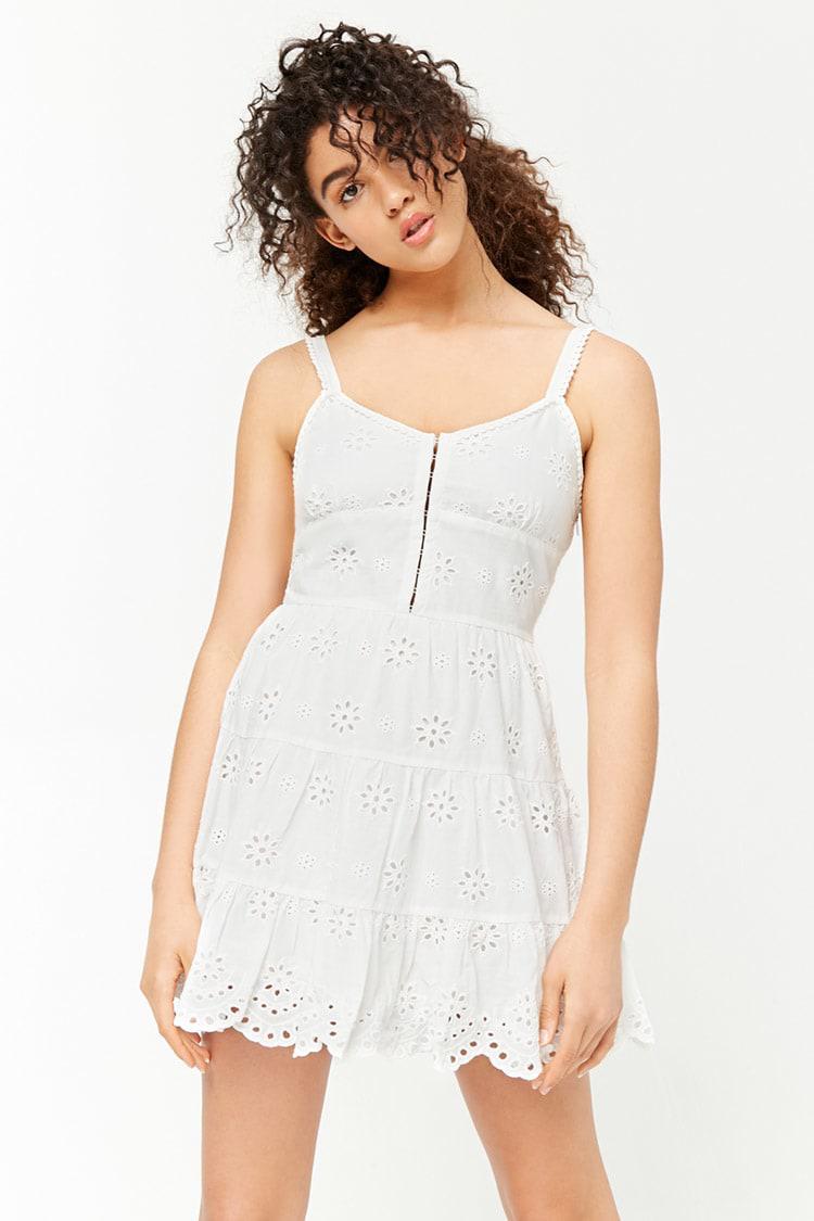 Lyst - Forever 21 Eyelet Cami Dress in White - photo #19
