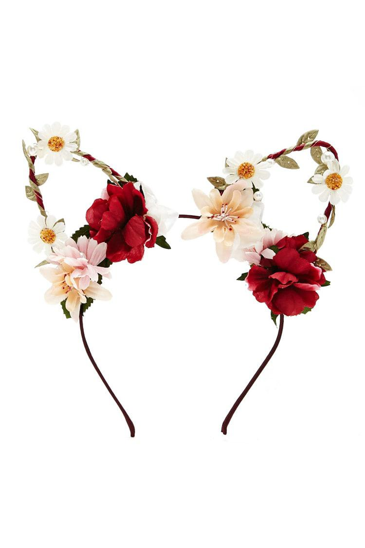 Forever 21 Flower Cat Ear Headband - Lyst c20c89637ea