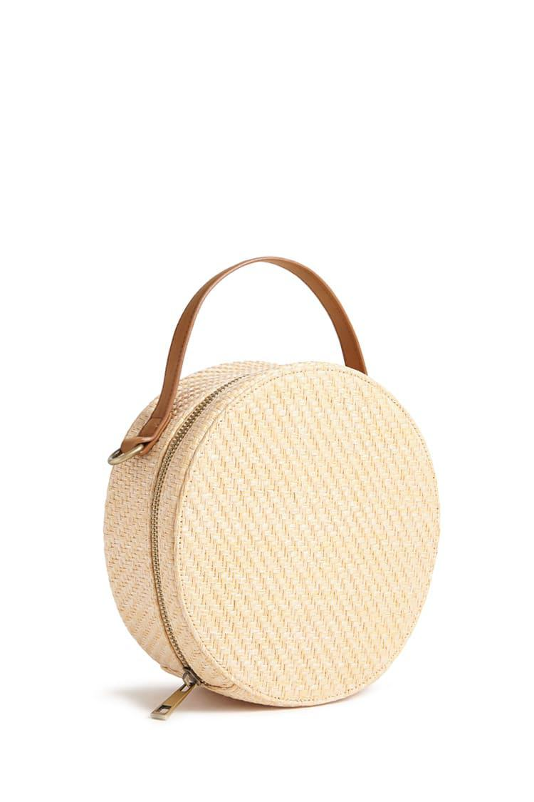 0b2be44e36eaea Forever 21 Round Straw Crossbody Bag in Natural - Lyst