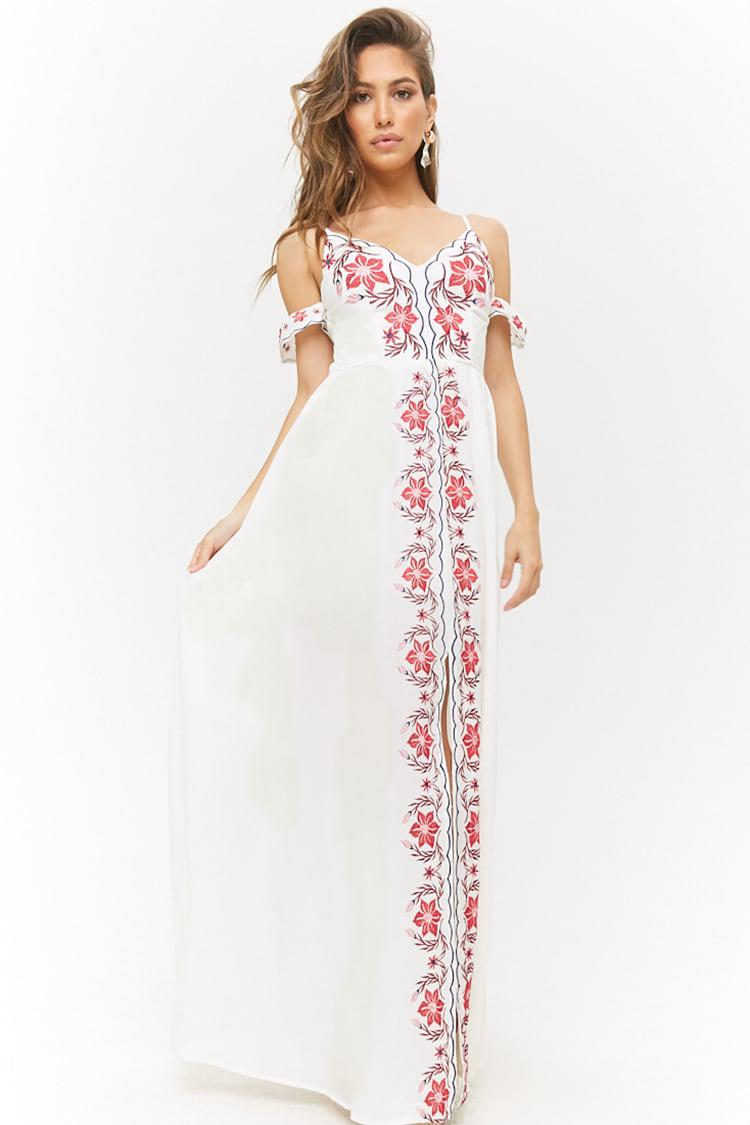 651f946b9a Forever 21 Floral Embroidered Open-shoulder Maxi Dress in White - Lyst