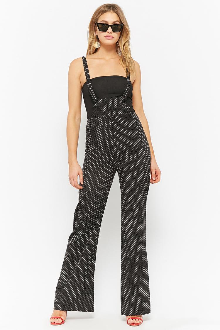 a8625f1108d5 Lyst - Forever 21 Polka Dot Suspender Jumpsuit in Black
