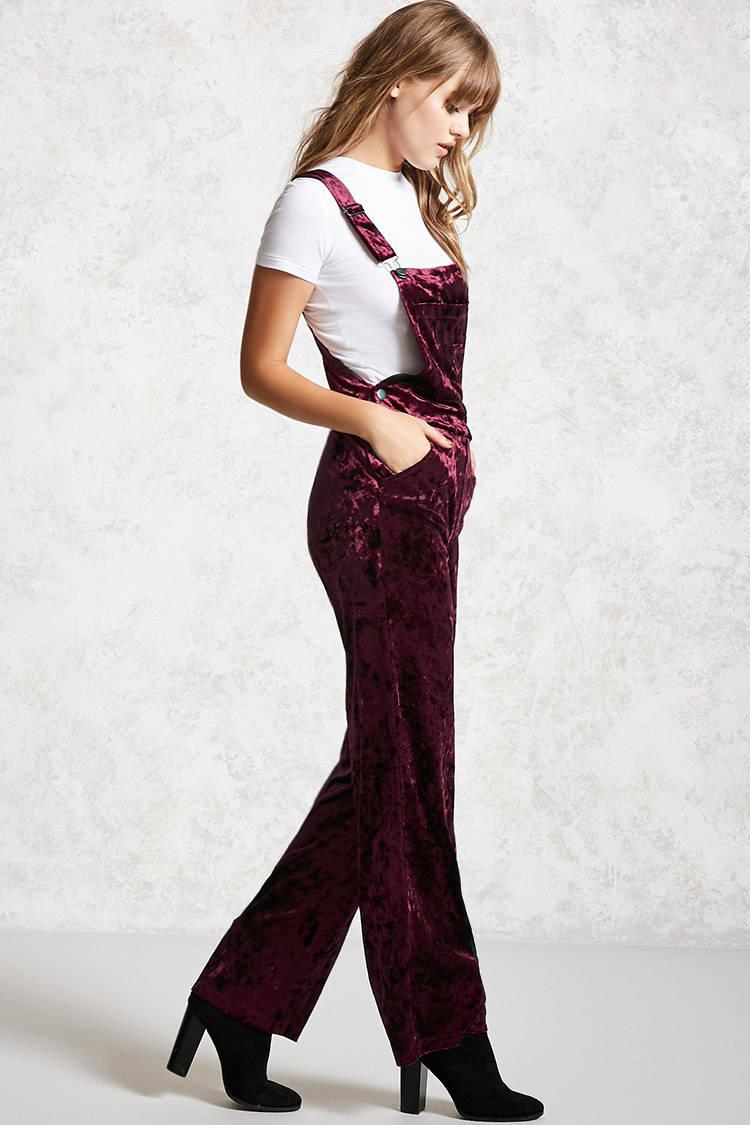 8ceffe766751c Forever 21 Crushed Velvet Overalls in Red - Lyst