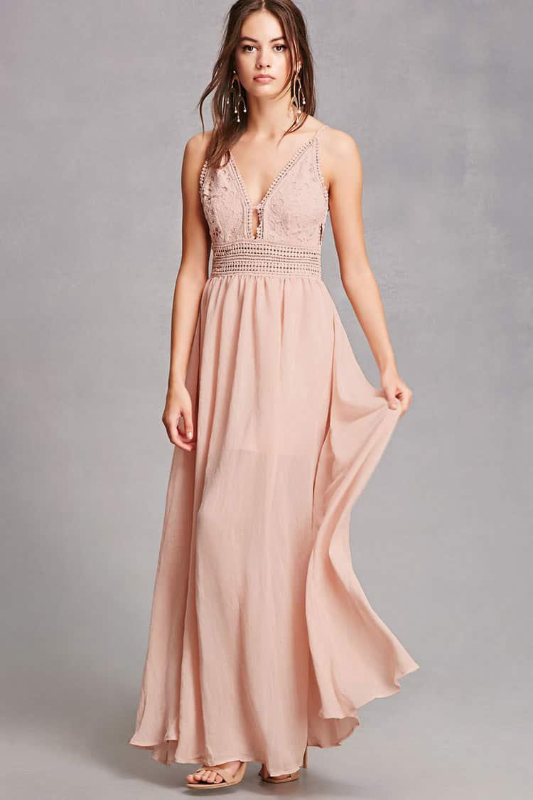 04282f069892 Forever 21 Soieblu Crochet Maxi Dress in Pink - Lyst