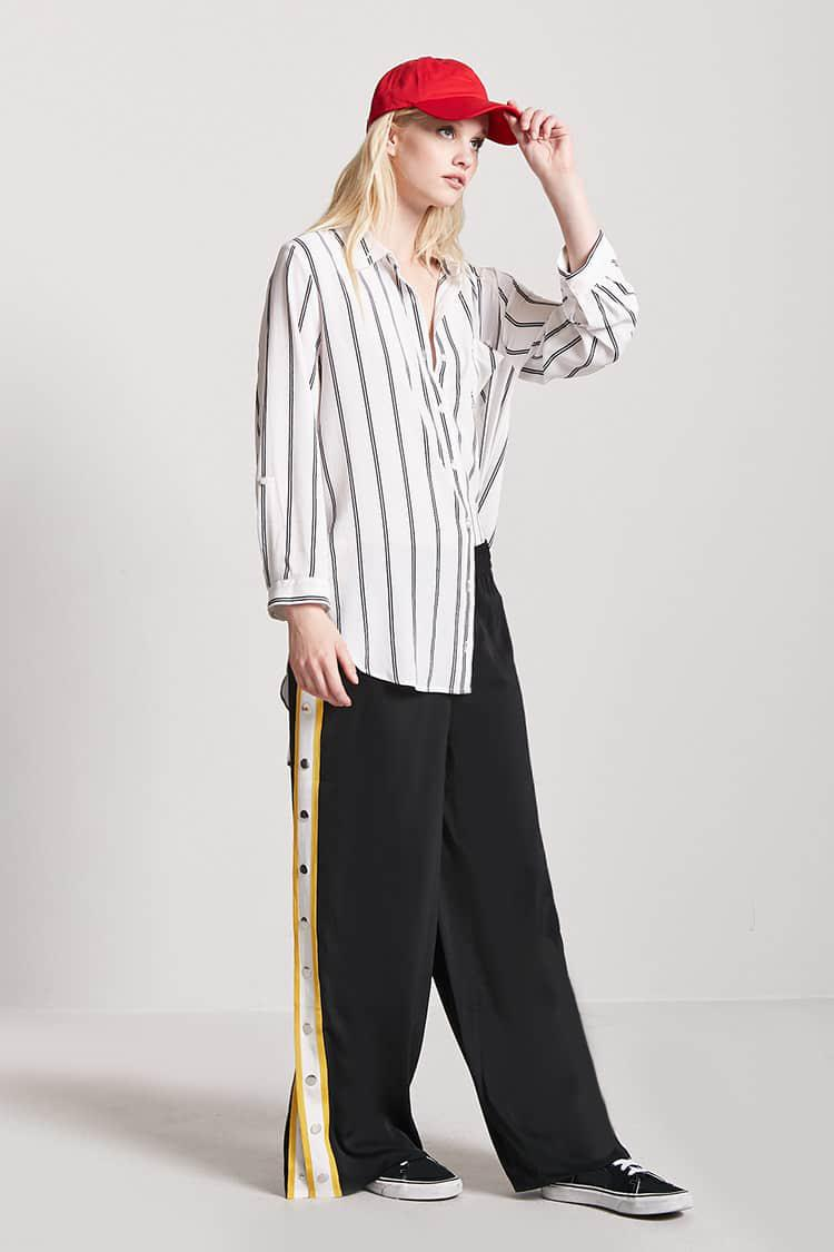 Gallery  sc 1 st  Lyst & Lyst - Forever 21 Stripe Tearaway Trousers in Black