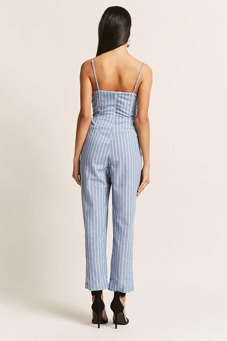 80203d1dc58a Lyst - Forever 21 Pinstripe Tie-front Jumpsuit in Blue