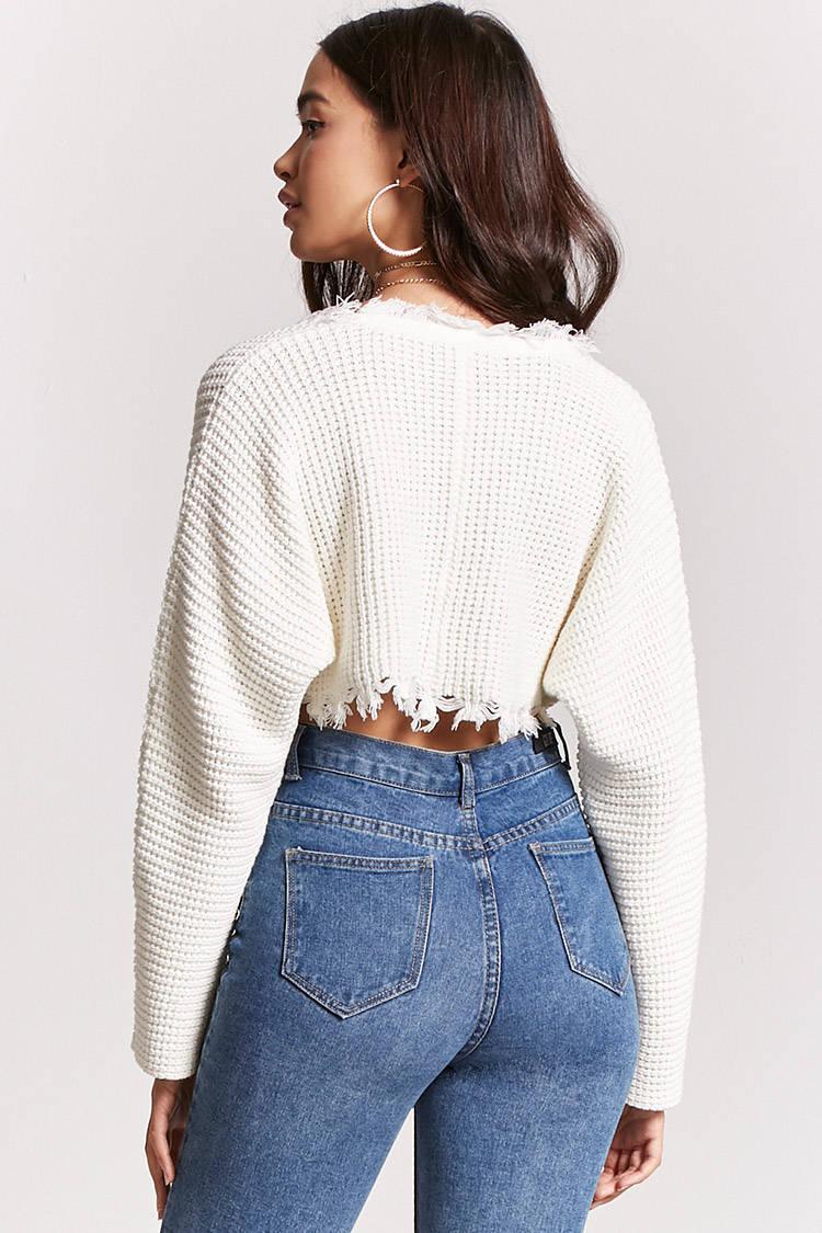 Lyst - Forever 21 Frayed Jumper-knit Crop Top ee4c0da8f