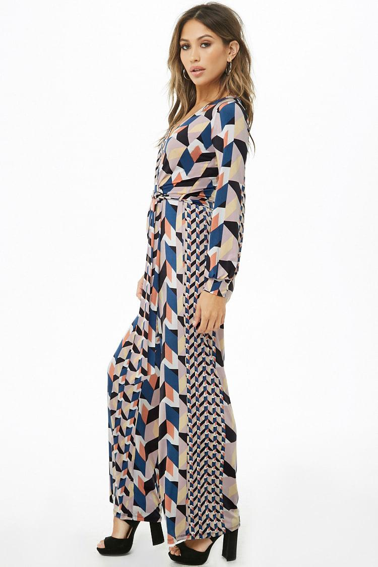 75277c3008 Lyst - Forever 21 Geo Print Faux-wrap Jumpsuit in Blue