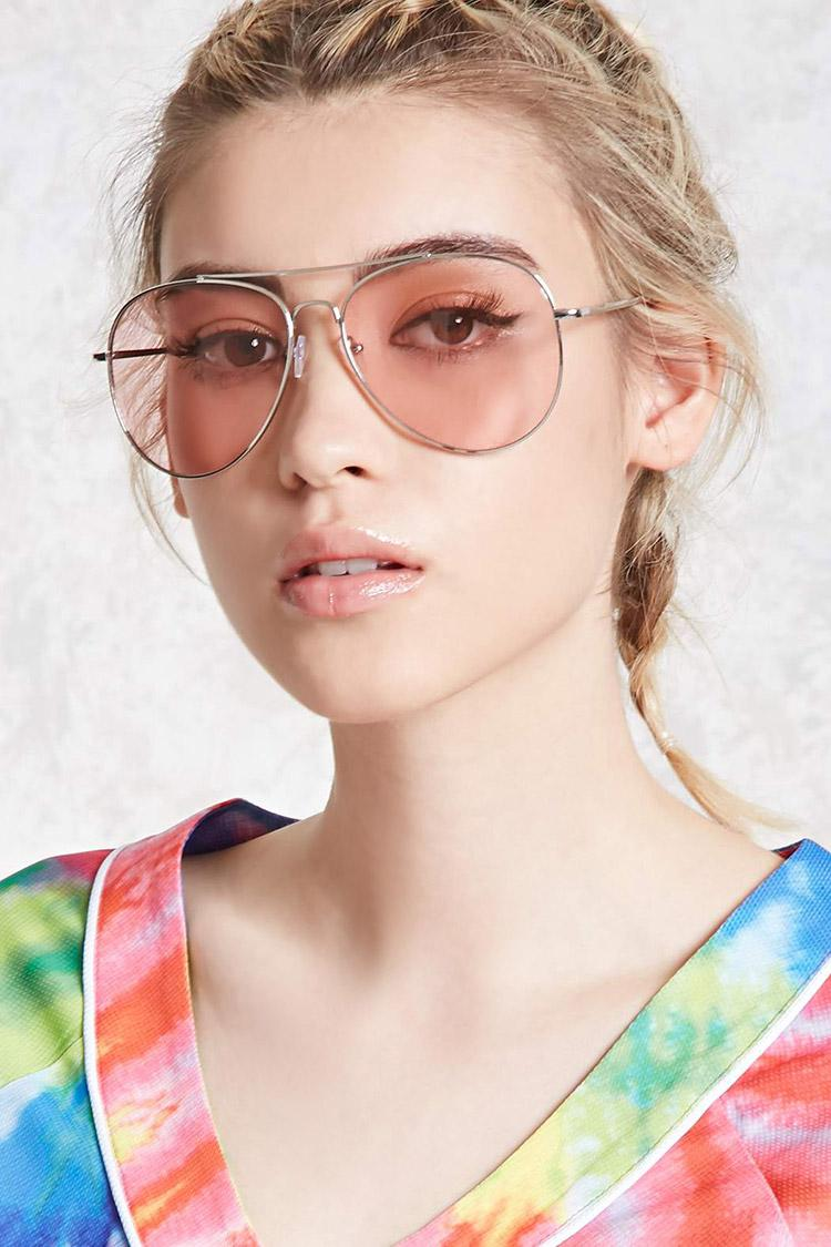 Forever 21 Tinted Aviator Sunglasses In Pink Lyst