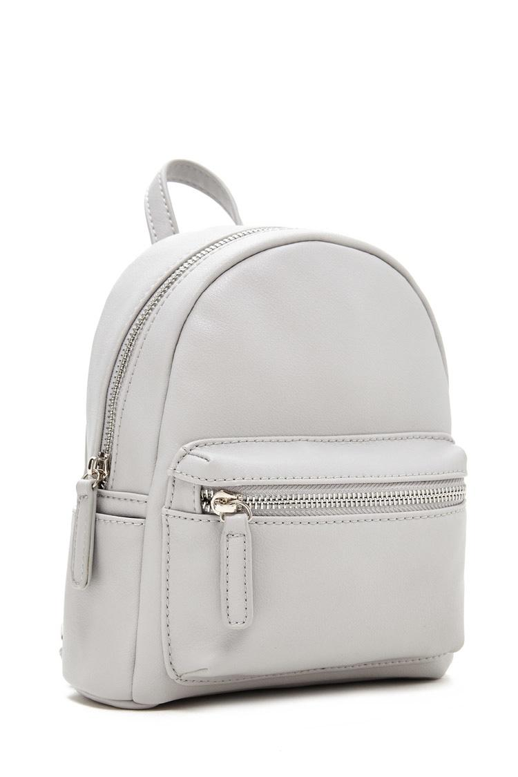 Forever 21 Faux Leather Mini Backpack In Gray Lyst