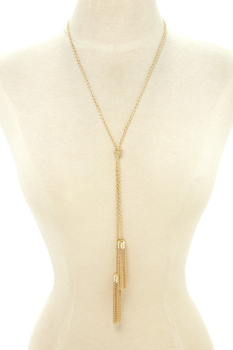 Forever 21 Knotted Tassel Necklace In Metallic Lyst