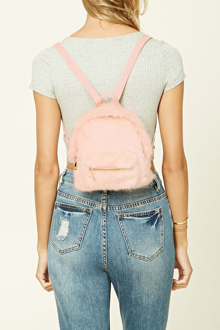 Forever 21 Faux Fur Mini Backpack Lyst