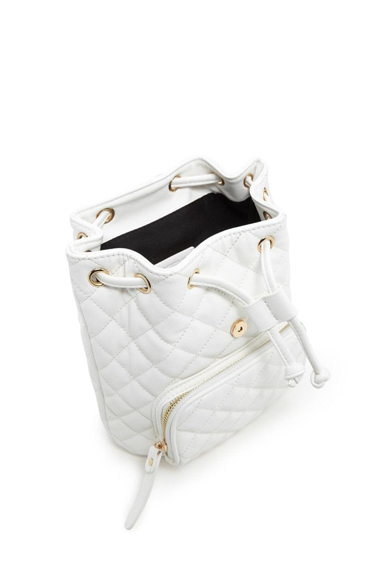 Forever 21 Quilted Mini Backpack In White Lyst