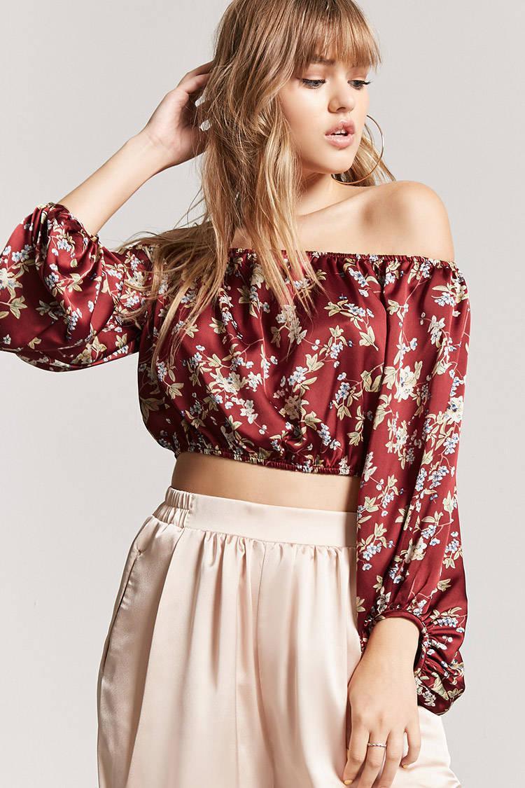 280ef8369a230 Lyst - Forever 21 Floral Off-the-shoulder Top