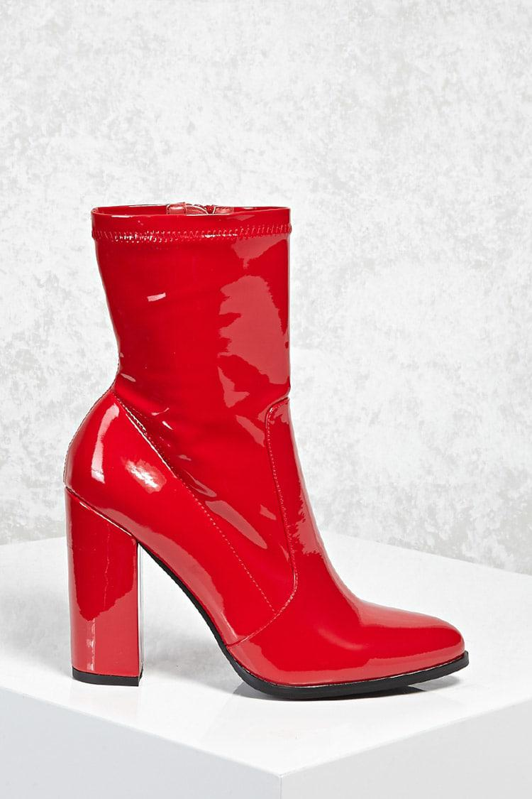 f5a086cbd8dd Forever 21 Patent Faux Leather Sock Boots in Red - Lyst