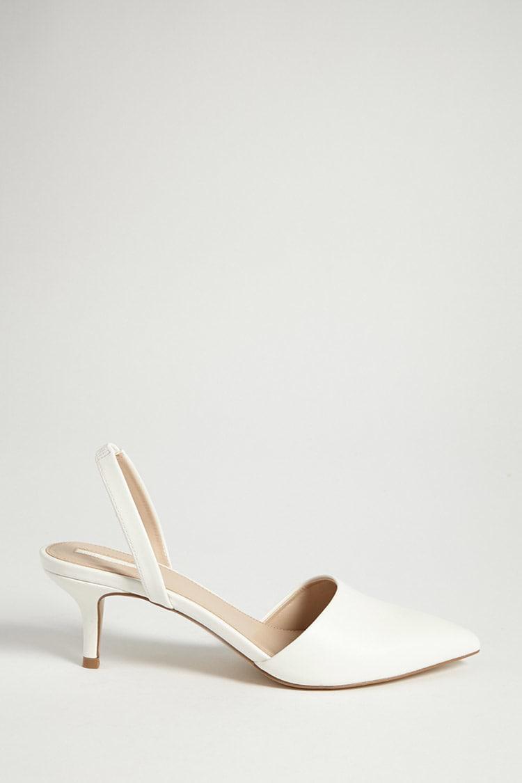 5f6a3c0e5de Forever 21 Faux Leather Kitten Heel Pumps in White - Lyst