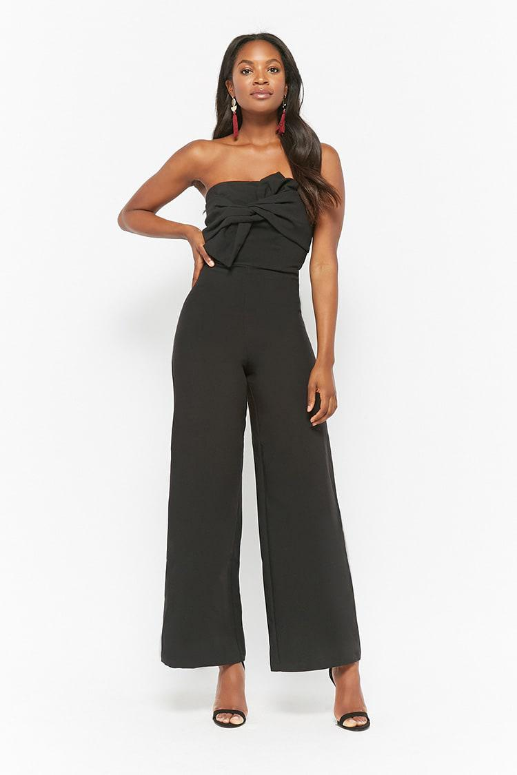 339d5cdba7ee Lyst - Forever 21 Strapless Twist-front Jumpsuit in Black