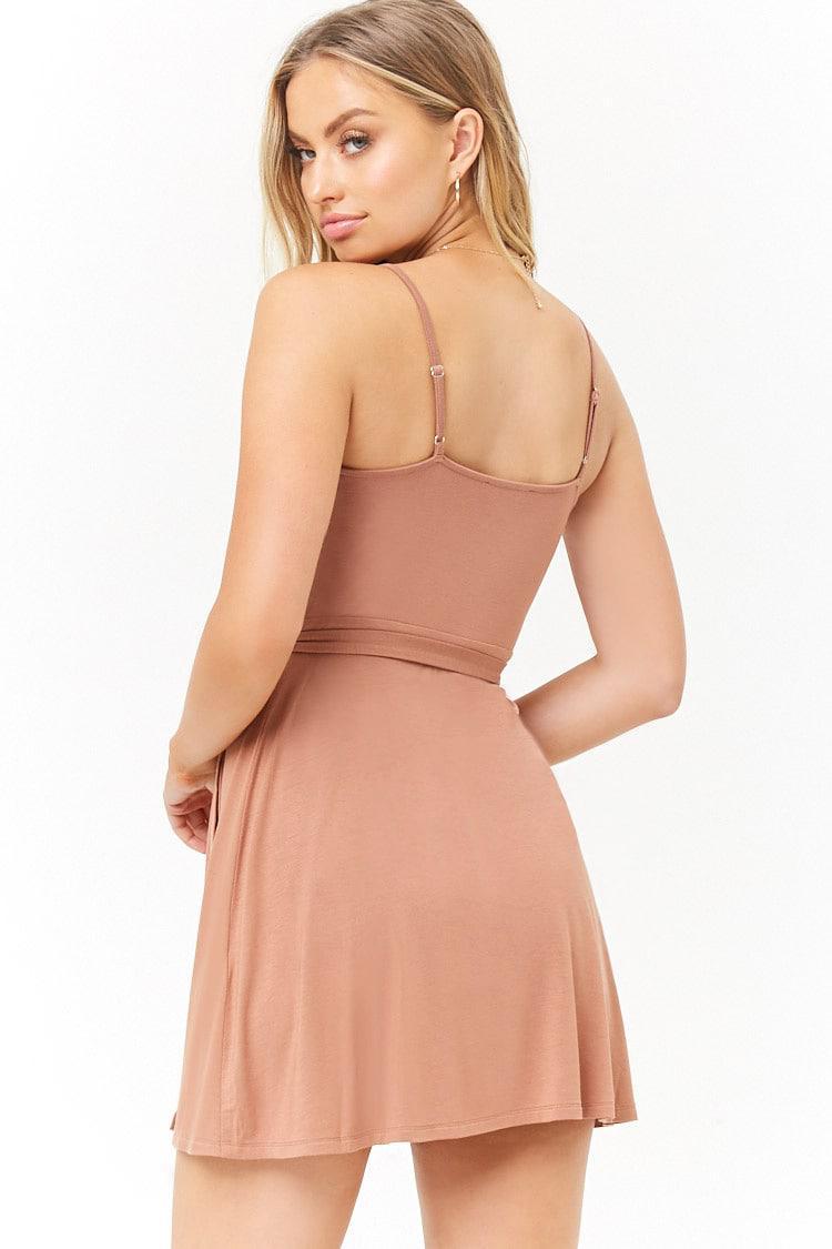 665cc63abb0 ... Surplice Cami Mini Wrap Dress - Lyst. View fullscreen