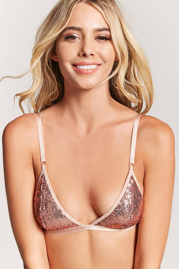 a5798ee6c50 Forever 21 Sequin Triangle Bralette - Lyst