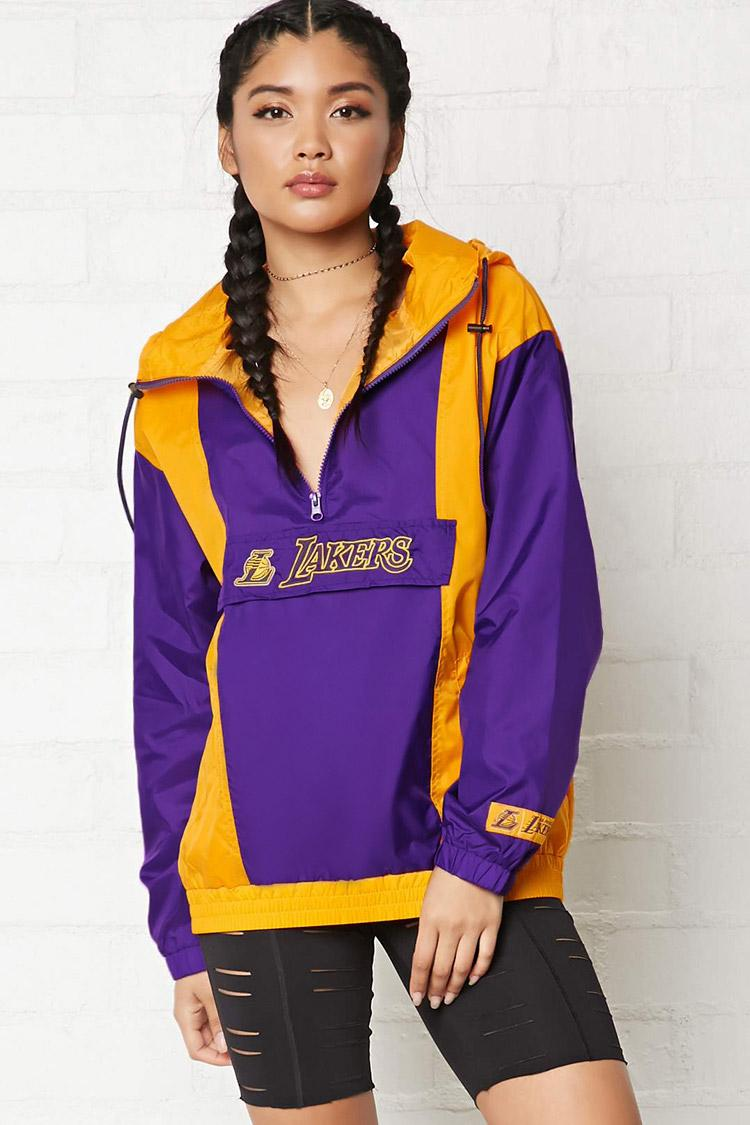 Lyst - Forever 21 Nba Lakers Anorak Jacket in Purple