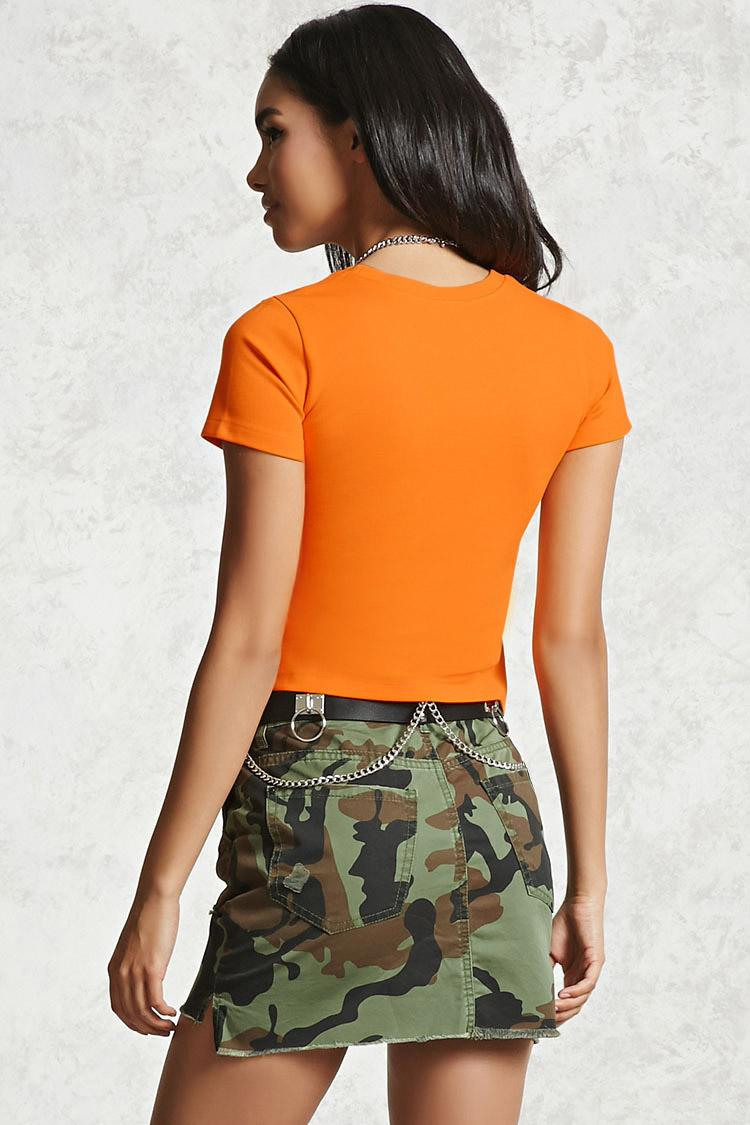 Forever 21 Cropped Baby Girl Tee In Orange Lyst