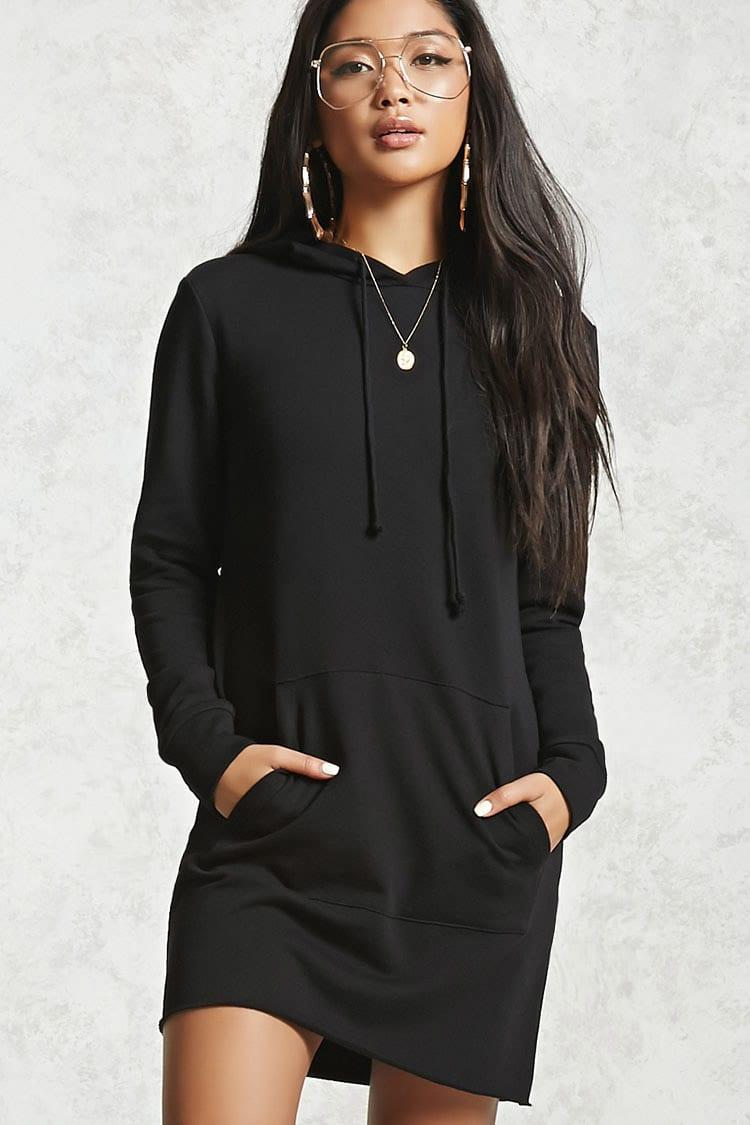 Lyst Forever 21 Raw Cut French Terry Mini Dress In Black