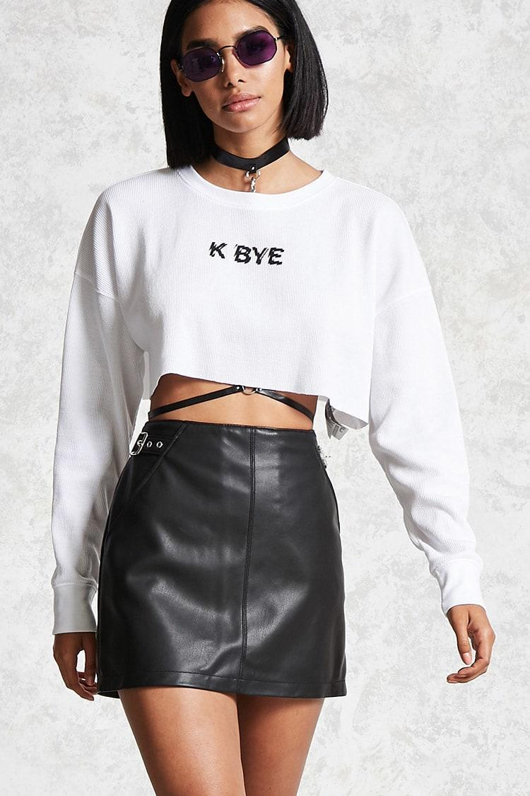 Forever 21 K Bye Graphic Crop Top In White
