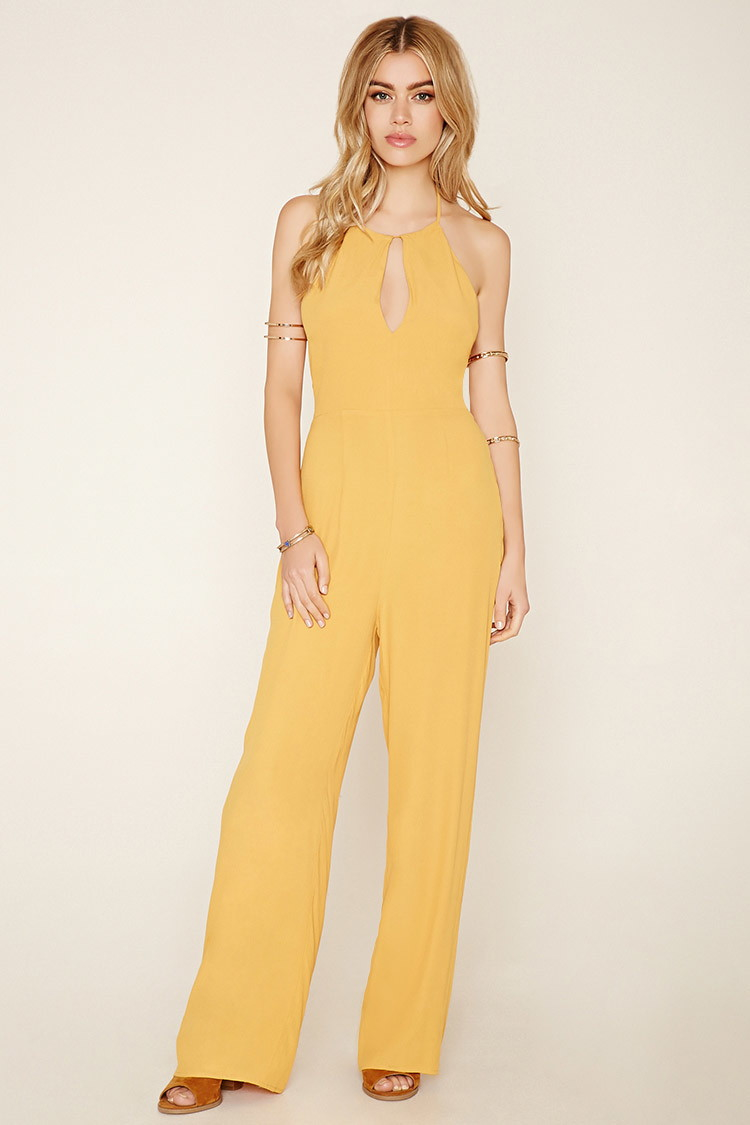 Forever 21 Lace Up Crepe Jumpsuit In Yellow Lyst