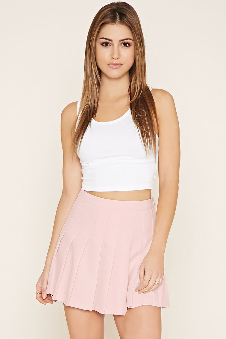 Forever 21 Pleated Mini Skirt in Purple | Lyst