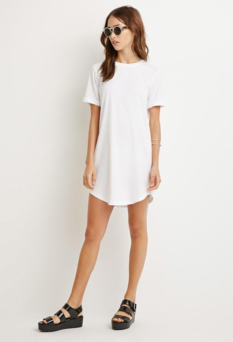 Lyst - Forever 21 Classic T-shirt Dress in White - photo #35