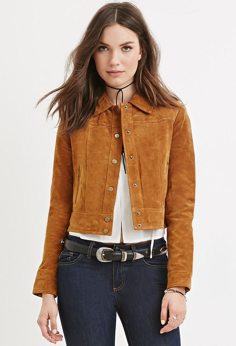 Lyst Forever 21 Genuine Suede Jacket In Natural