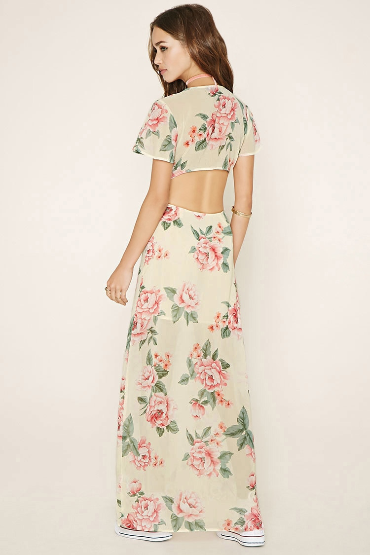 Lyst Forever 21 Floral Cutout Maxi Dress