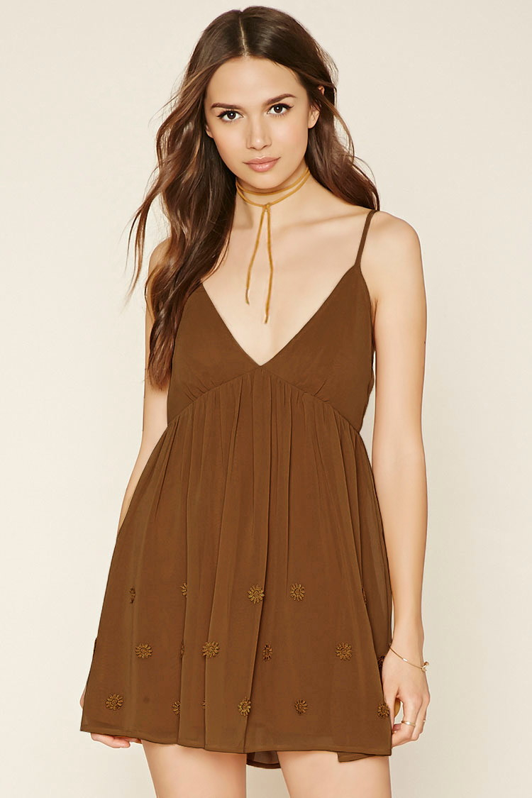 Forever floral embroidered cami dress in brown lyst