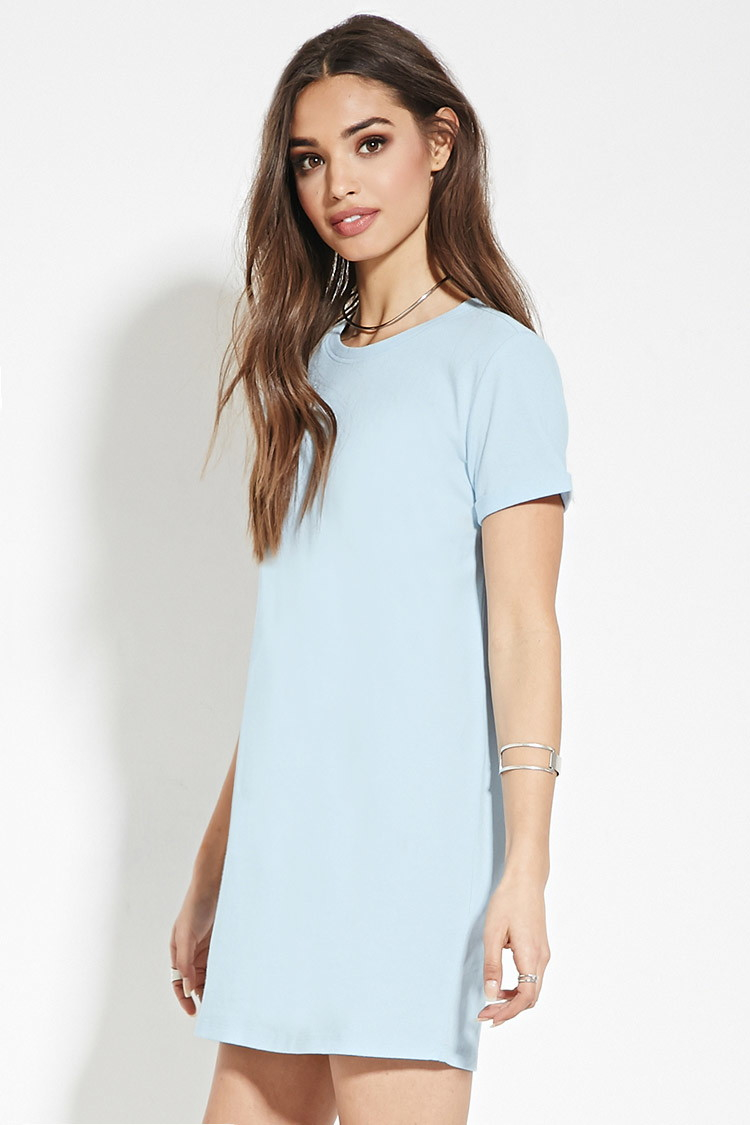 21 Pastel Blue Bedroom Designs Decorating Ideas: Forever 21 Cotton T-shirt Dress In Blue