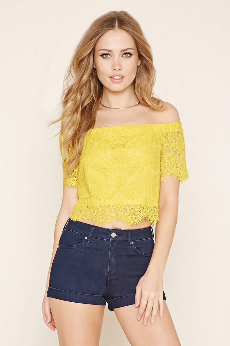 605b763747336 Lyst - Forever 21 Lace Off-the-shoulder Crop Top in Yellow