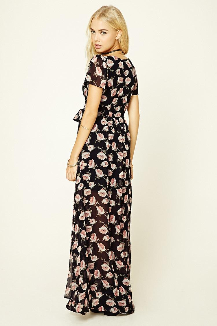 afc401956e8 FOREVER21 Forever 21 High-Low Floral Wrap Dress Black from .